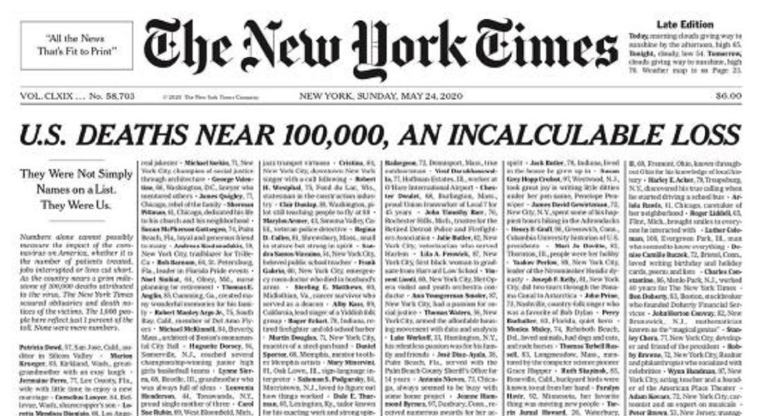[국제단신] 뉴욕타임즈, 코로나피해자 추모